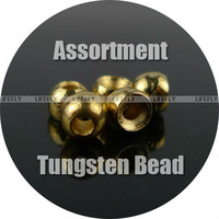 100 Golden Tungsten Beads, Fly Tying / 2.3mm, 2.7mm, 3.2mm, 3.8mm / 4 Sizes Assortment