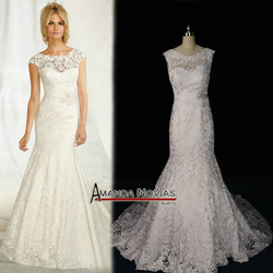 Mori19 Wonderful crystal Belt Sleeve Mermaid full Lace backless lace wedding dresses Real(China (Mainland))