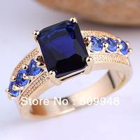 Hot Gift Oblong Blue Sapphire Stone Lady Fashion GF Ring Size 8 GF J7475