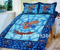 Free Shipping 100% cotton reactive print child 3 pcs bedding set one bedcover+ two pillowslip spiderman home textile carton
