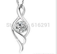 Elegant soft S925 sterling silver necklace Korean fashion Crystal pendants