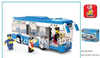 Sluban 235pcs/set DIY children Educational safe comfort fast luxury bus Block Toy Set,free shipping