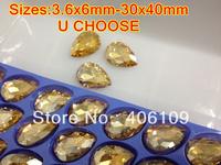 Pearshape Crystal Fancy stone champagne pear beads 3.6x6mm 8x13mm 10x14mm 7x10mm 13x18mm 18x25mm 20x30mm 30x40mm