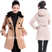2013 New style Women Double-breasted hooded alpaca circle Woolen jacket Lady warm outerwear coat Red/black/brown/beige M-XXL