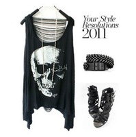 Fashion Skull Head Printed Tank Tops Women's Skeleton Cartoon Punk Style T-shirt Tassel Back Hollow Out Vest Top Tees AS-046