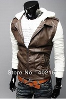 Free Shipping 2012 New  fashion leather jacket man jacket pu leahter jacket