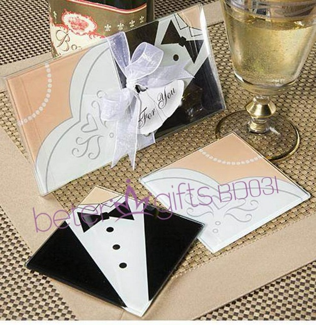Bride and Groom glass coaster set 8pcs, 4set BD031 party decoration favours ,gifts@Beter Gifts(China (Mainland))