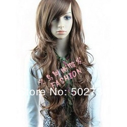 Free shipping Fashion synthetic hair wigs Long curly Big wave Black, Dark and Light brown color CH0003(China (Mainland))
