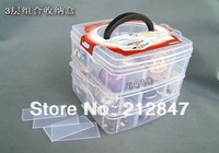 Plastic 3 Layers Detachable Assort Case Storage Components Box Clear White free shipping