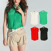 summer new style Europe&America chiffon loosen candy color OL temperament sleeveless blouse E0829