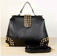 2012 Hot New Design Women Fashion Rivet Motorcycle Handbags Retrpo Doctor Shoulder Bag PU Leather Women A1101