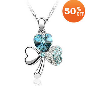 18K white gold plated austrian crystal rhinestone clover flower heart necklace pendant fashion jewelry holiday sale 036