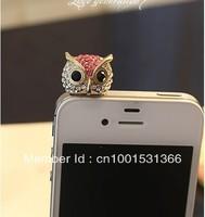 P007 Flash crystal owl dust plug the headphone jack plug 12pcs/lot Free Shipping
