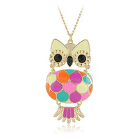 Wholesale Owl Jewelry Fashion Enamel Owl Pendants Necklaces