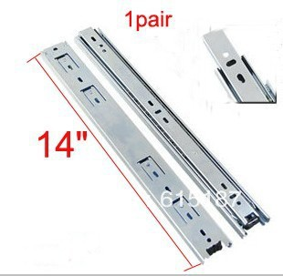 "2 Pcs 14"" Full Extension Ball Bearing Telescopic Drawer Slides Slide Rails(China (Mainland))"