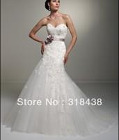 Free shipping KQI-0012 Elegant A-line Strapless Beaded Lace Chapel Write/Ivory Organza Wedding Dress Custom-made
