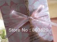 Pink Petals & Ribbon Tri-fold Wedding Invitation (Set of 50)Printable and Customizable Wholesale Free Shipping