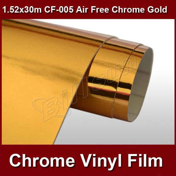 one roll mirror chrome vinyl car wrapping film air bubble free 1.52mx30m CF-005 free shipping(China (Mainland))