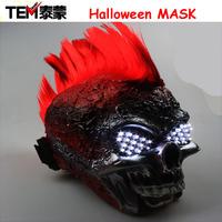 Free Shipping Ghost Rider skull mask / Halloween mask /LED glasses  for  Show,Party Masks Red Hair White Eye Novelty Lighting