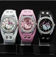 New Leather bangle hello kitty gift watch,diamond jewelry watch Fashion Best Nice watches Gift W254W Free Shipping
