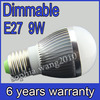 6x CREE Dimmable E27 LED 3x3W 9W Bubble Ball bulb Light Lamp Free shipping