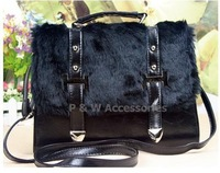 Free Shipping!  New Fashion Messenger Tote Bags with Rabbit Fur and PU Leather