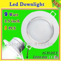 frost led down light 3 pcs/lot_free shipping 9 watt led ceiling spot downlight 3.5 inch+led driver_900 lumen aluminum led light