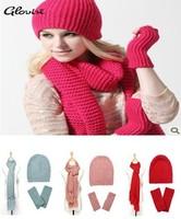 Hat scarf gloves set three piece