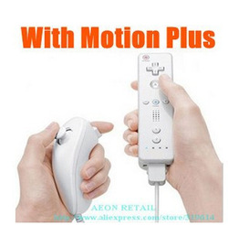 Nunchuck & Wireless Remote Controller & Skin For Nintendo Wii, 2 in 1 with Motion Plus,Free Shipping,Dropshipping(China (Mainland))