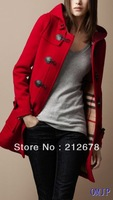 Free shipping new arrival single breasted hooded,Horn button sub coat, winter women overcoat 2013