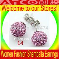 shamballa earrings  disco ball cz crystal stud earings fashion jewelry ear nail wholesale free shipping