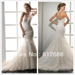 Freeshipping 2013 Newest Style Mermaid Strapless Halter Lace Embroidery Bridal Dress&Wedding dress Chiffon Custom Size&Color(China (Mainland))