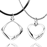 Free Shipping,The couple necklace,female models male models necklace jewelry,Platinum Plated jewelry lovers.