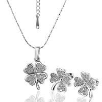 Valentine Gift KS061/KS062/KS063 18K Platinum/Rose Gold Plated Jewelry SET Necklace/ Stud Earrings Czech crystal Clover