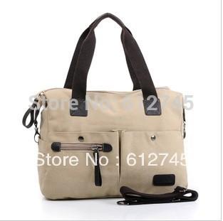 2014 women messenger bags canvas satchel bag Large travel shoulder bag pocket handbag beige zipper big capacity business bag