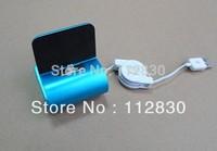 Wholesales 50pcs/lot 5 Colors High Quality Aluminum Alloy Dock Charger for iPhone5,USB desktop Station