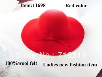 wholesale ladies fashion Red wide brim felt hats with brim 10CM-12CM-14CM  and good quality and large brim fedora