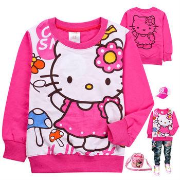 Free Shipping Hot 6pcs/lot Kids girls boys HELLO KITTY terry hood/hoodies, kids girls autumn clothing/ Sweatshirts/hoody/clothes
