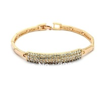 Free Shipping Austria Crystal Rhinestone Golden Cuff Bracelet or Wristband for Women or Ladies Gift