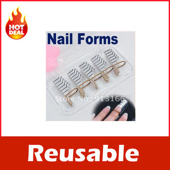 5x Reusable Nail Forms UV Gel Acrylic French Tips Art