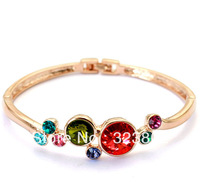 Bling Bangle Made with Colorful Round Austria Crystal Rhinestone for Women Ladies Party Birthday Wedding Anniversary Gift