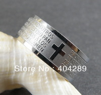 Wholesale 12Pcs  8mm High Quality Stainless Steel Silver Bibel Cross Jewelry Ring,Free Shipping SR018