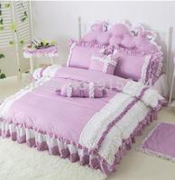 Sweety purple bedrug 100%cotton princess bedding 4pcs setqueen/king size hometextile ruffle duvet comforter bedskirt pillowcase