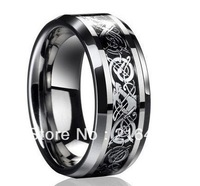 Free Shipping Dragon Tungsten Carbide Ring Mens Jewelry Wedding Band Silver New size 7/8/9/10/11/12/13