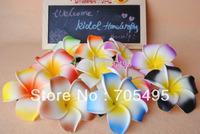 50pcs/lot Free Shipping 8cm Seashore Decoration Hawaiian Plumeria Foam Frangipani Flower Hair Accessory Clip