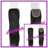 """Silk perimeter 18"""" #1b  Silk straight  Peruvian Virgin Hair Top Closure (4""""x4"""")"""