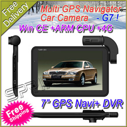 "FREE SHIPPING Car GPS Navigator DVR recorder G7 7"" HD Dual camera,Win CE ARM CPU Built 4GB Memory+Game(Free GPS Map RUSSIA)(China (Mainland))"