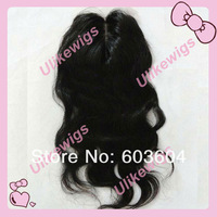 "Natural Looking Silk Base(4x4"") Top Selling 14""  Brazilian Virgin Hair Top Closure (4""x4"")"