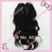 "Natural Looking Silk Base(4x4"") Top Selling 14""  Brazilian Virgin Hair Top Closure (4""x4"")"