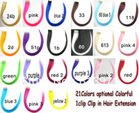 Top Fashion Women's Girl's Colorful 1Clip Clip On in Hair Extension 21Colors Optional Hot for Party & Daily 20PCS / LOT